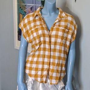 Lucky Mustard Gingham Muscle Button Down